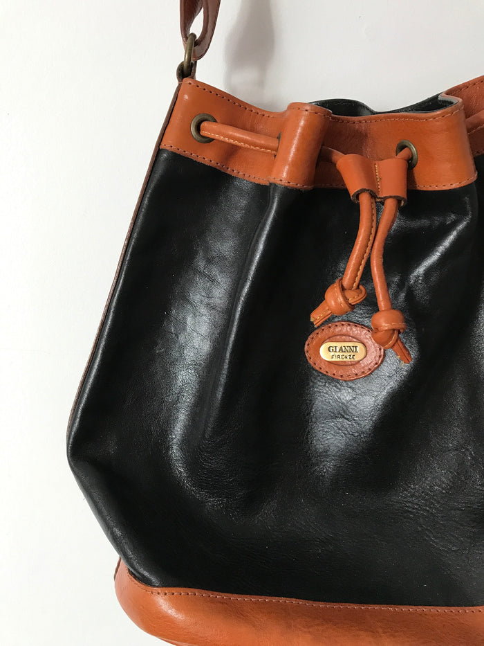 Italian Leather drawstring handbag