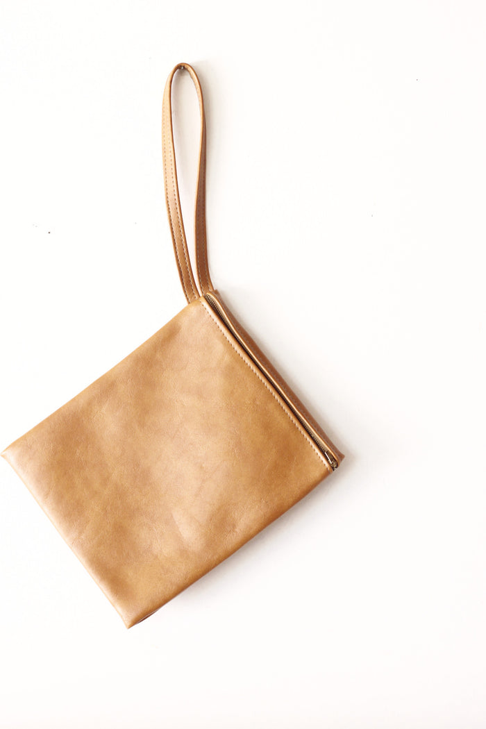 Simple leather clutch with wrist band