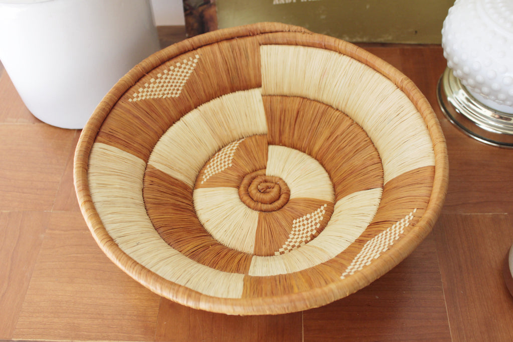 Tribal round woven basket