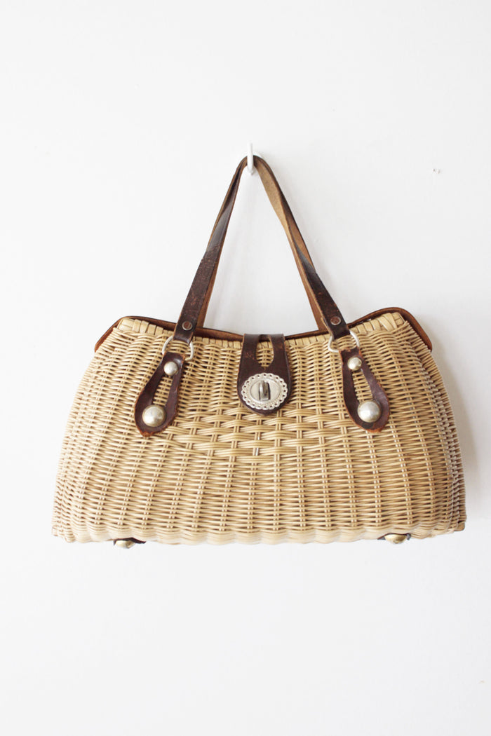 Studded woven purse with buckle