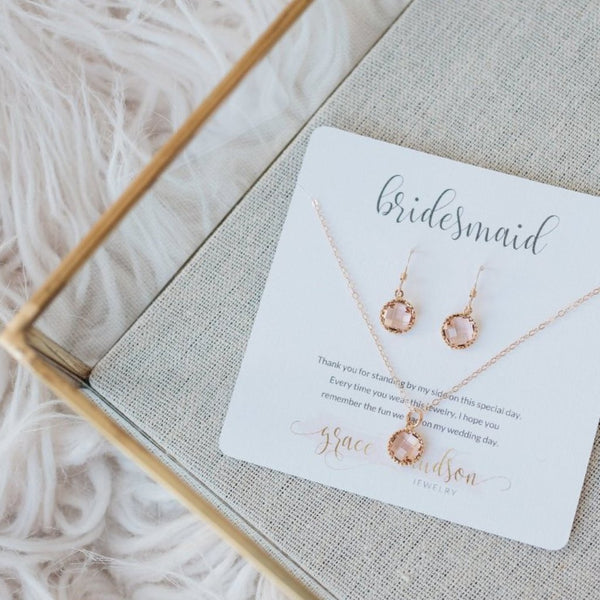 Dainty bridesmaid jewelry gift set available in gold or silver and 8 different colors