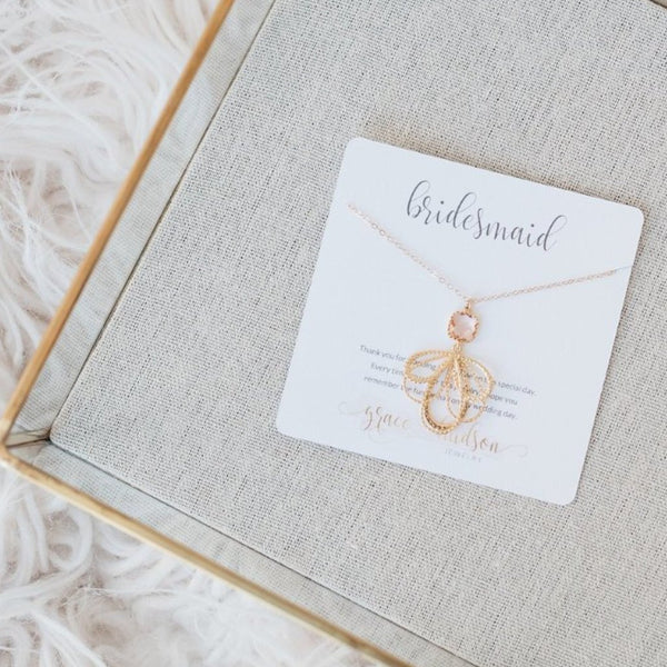 Bridesmaid necklace gift set available in gold or silver and 8 different colors