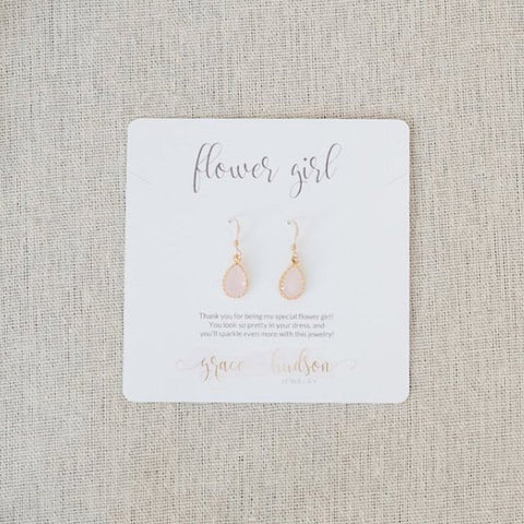 Flower Girl Earring Gift Set in gold and blush pink