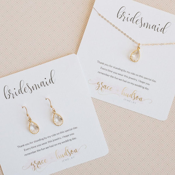 Dainty bridesmaid jewelry gift set available in gold or silver and several different colors