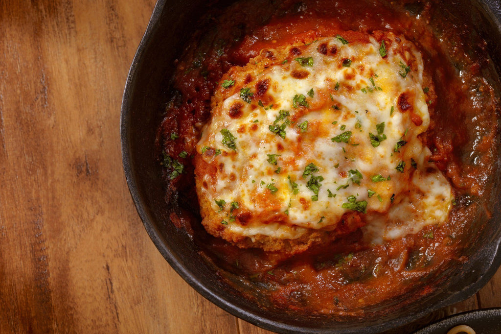 Low FODMAP Chicken Parmesan with Roasted Vegetable Tomato Sauce