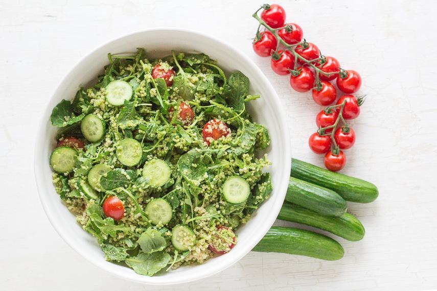 Low FODMAP Vegan Quinoa & Low FODMAP Salad with Cilantro Pesto