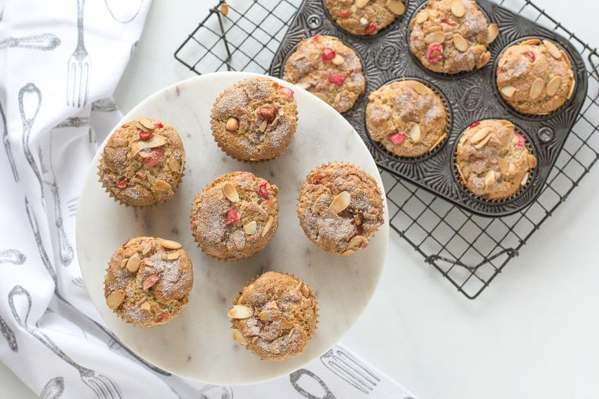 Low FODMAP Baking: Rhubarb Muffins with Yogurt & Almonds