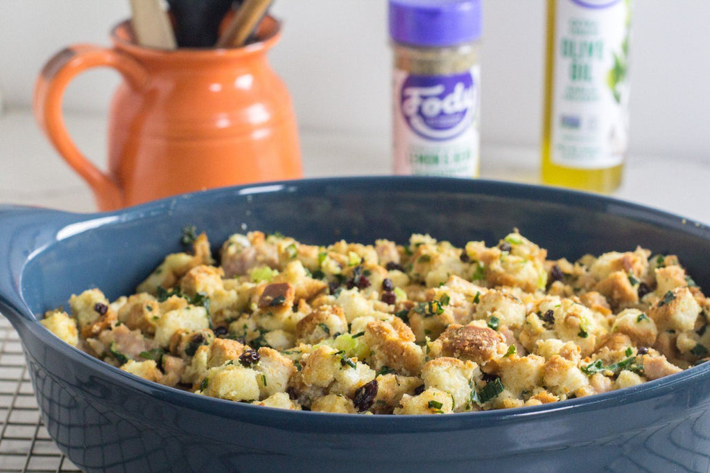 Low FODMAP Stuffing with Turkey Sausage & Currants