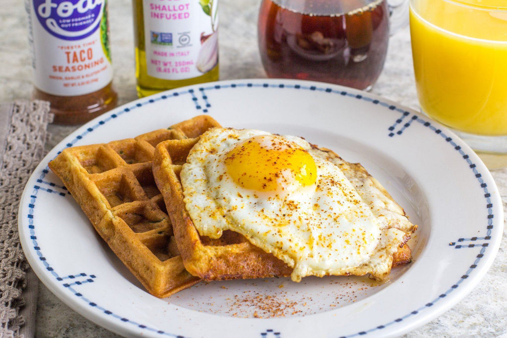 Low FODMAP Savory Cheddar Waffles with Poached Egg
