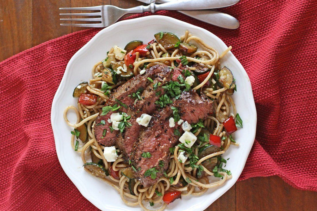 Low FODMAP Steak & Veggie Gorgonzola Pasta