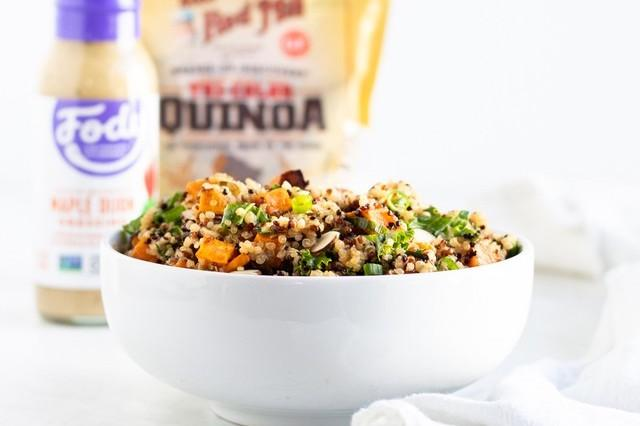 Low FODMAP Quinoa Salad With Kale & Sweet Potato