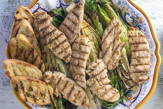 Grilled Low FODMAP Chicken Caesar Salad