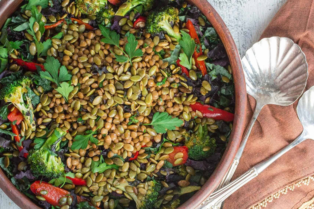 Low FODMAP Kale Salad with Lentils & Roasted Pepitas