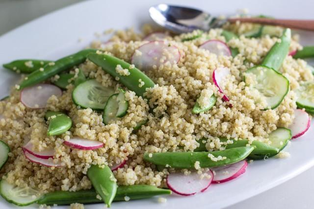Fody's Low FODMAP Quinoa Salad with Radishes and Snap Peas