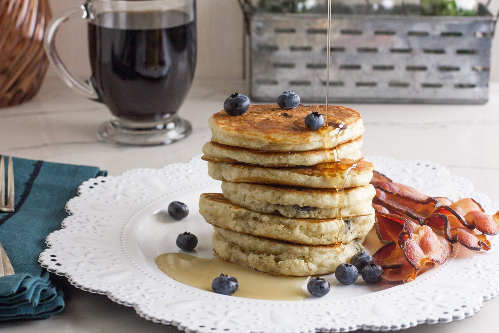 Fody Low FODMAP Cornmeal Blueberry Pancakes