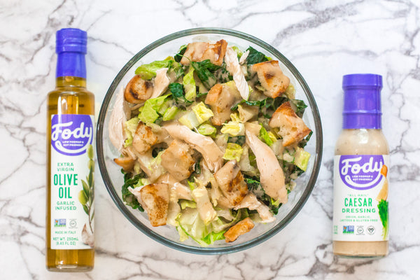 Low FODMAP Kale Caesar Salad with Chicken and Croutons