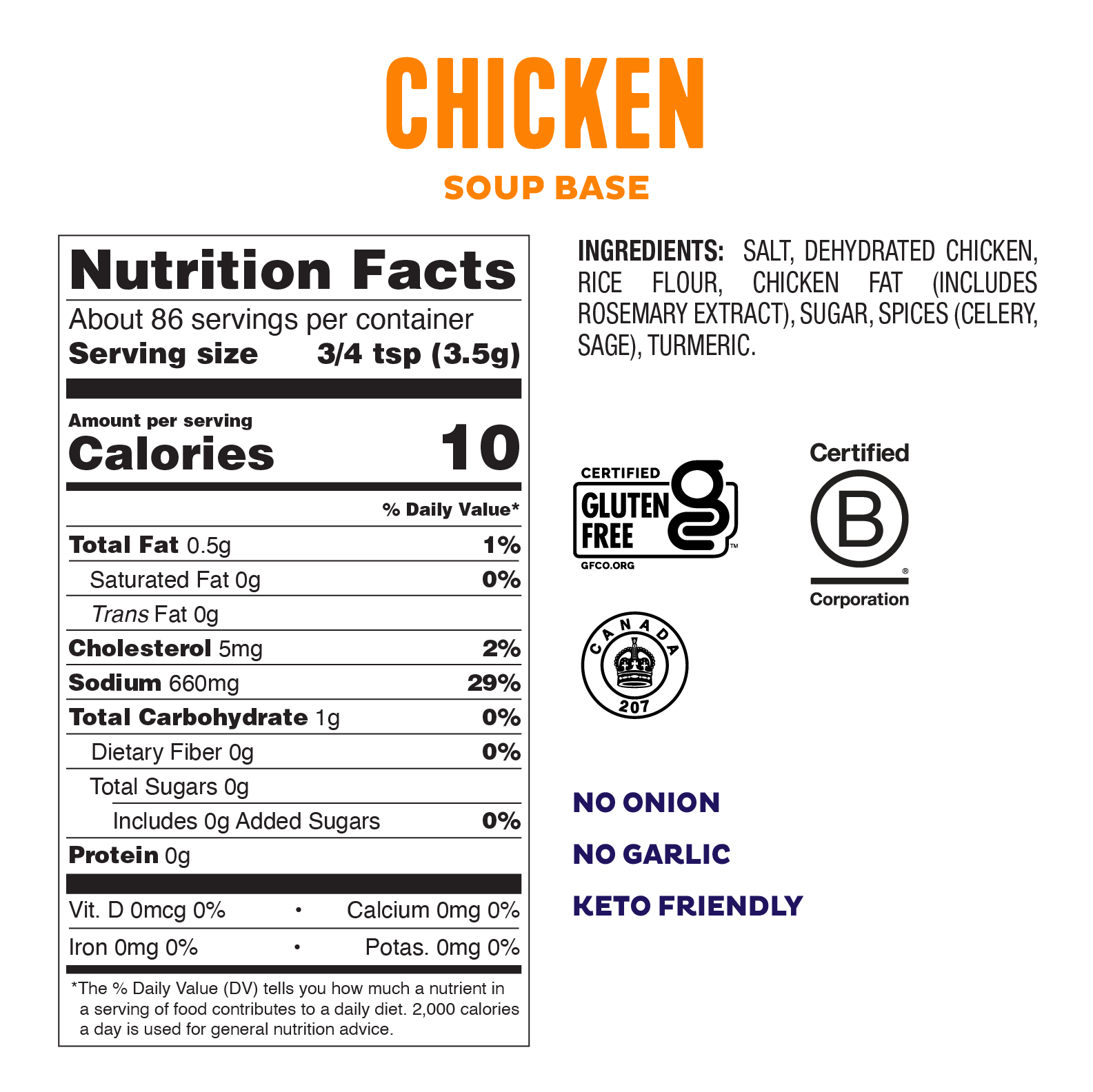 Low FODMAP <br><b><big>Chicken Soup Base </big></b><br><small>No Onion, No Garlic & Gluten Free!</small>