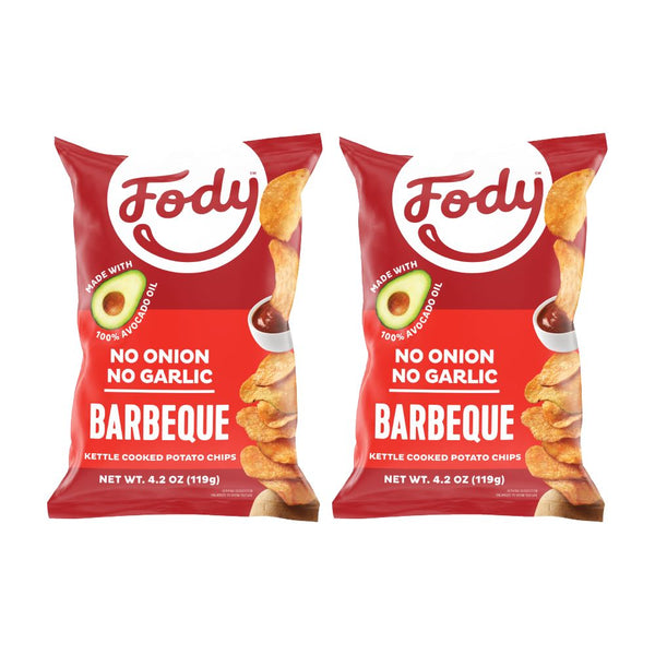 fody low fodmap bbq kettle chips 2 bags