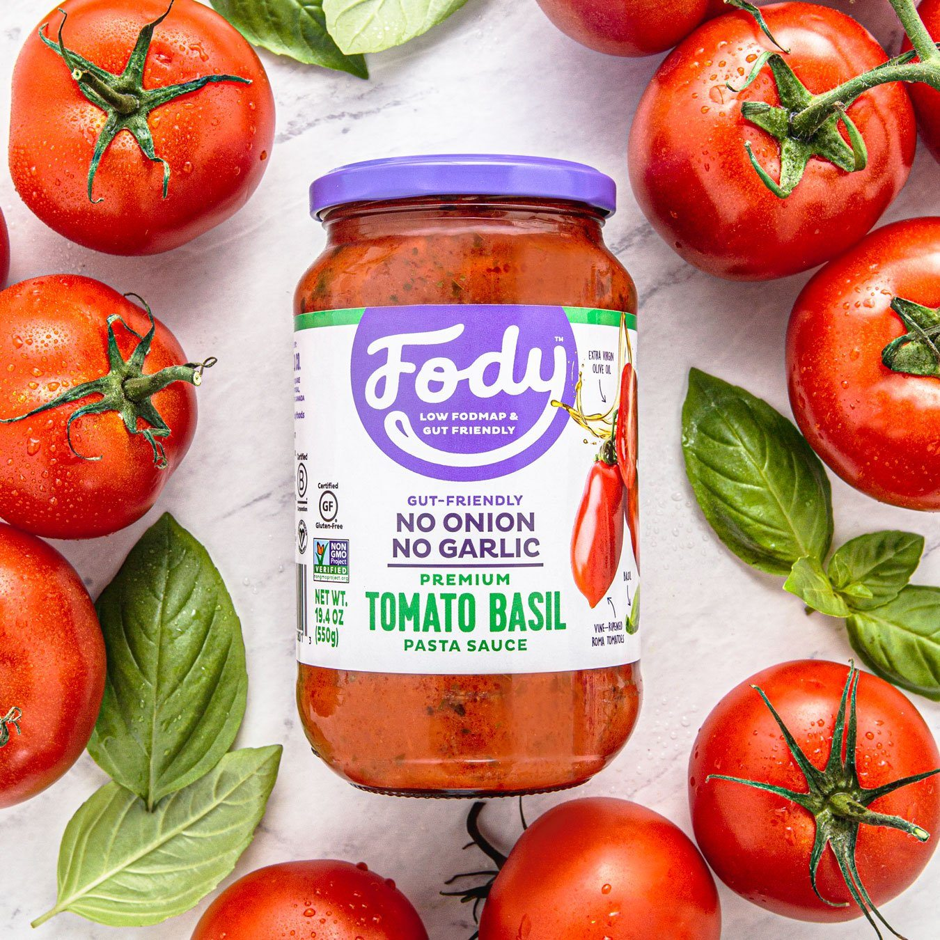 Low FODMAP <br><b><big>Tomato & Basil Pasta  Sauce </big></b><br>6-Pack <br><small>No Onion, No Garlic & Gluten-Free!</small>