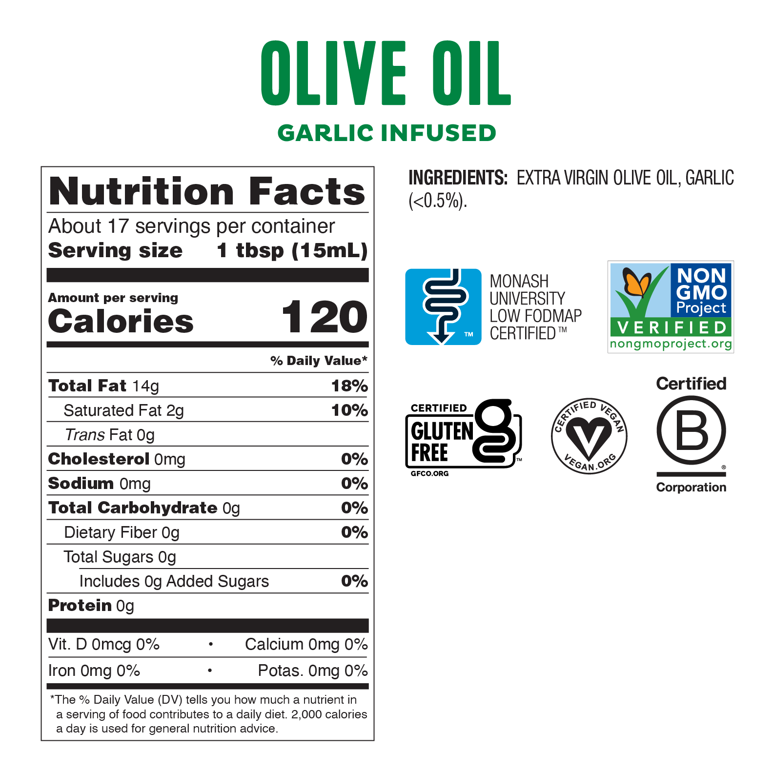 Low FODMAP <br><b><big>Garlic-Infused Olive Oil </big></b><br><small>Extra-Virgin, Non-GMO, Made in Italy</small>