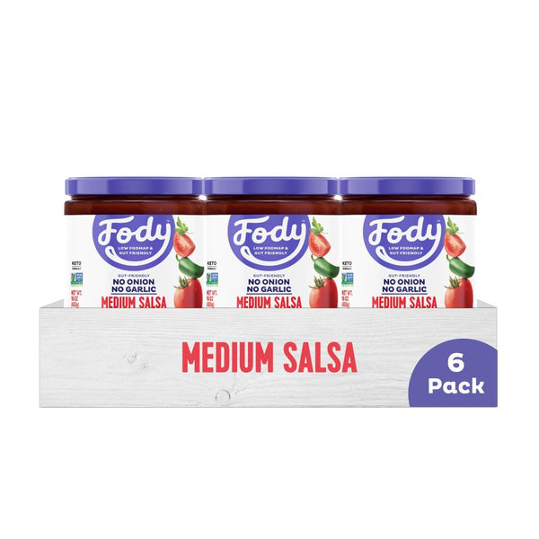 Low FODMAP <br><b><big>Medium Salsa </big></b><br>6-Pack<br><small>No Onion, No Garlic!</small>
