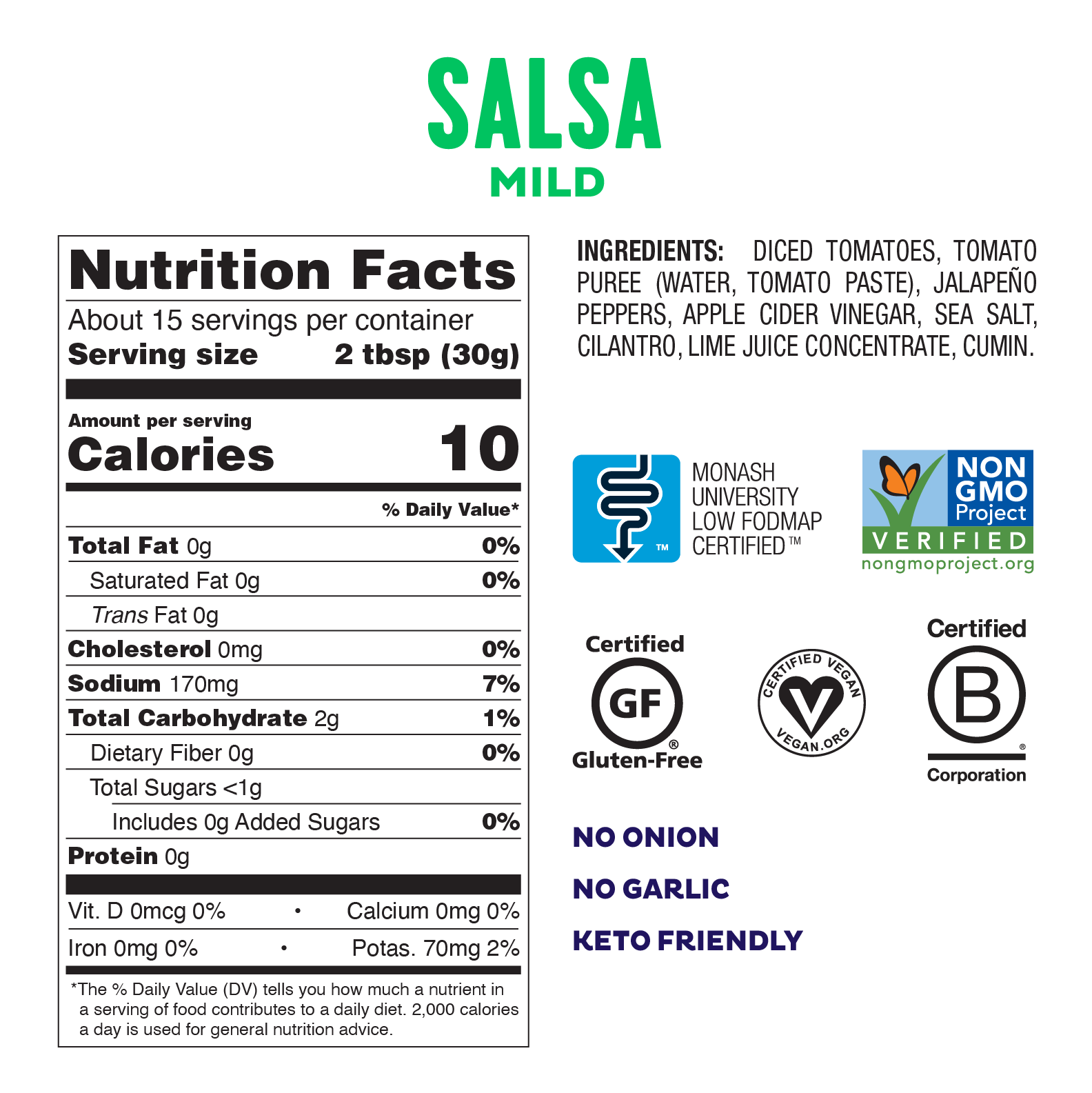 Low FODMAP <br><b><big>Mild Salsa </big></b><br>6-Pack<br><small>No Onion, No Garlic!</small>