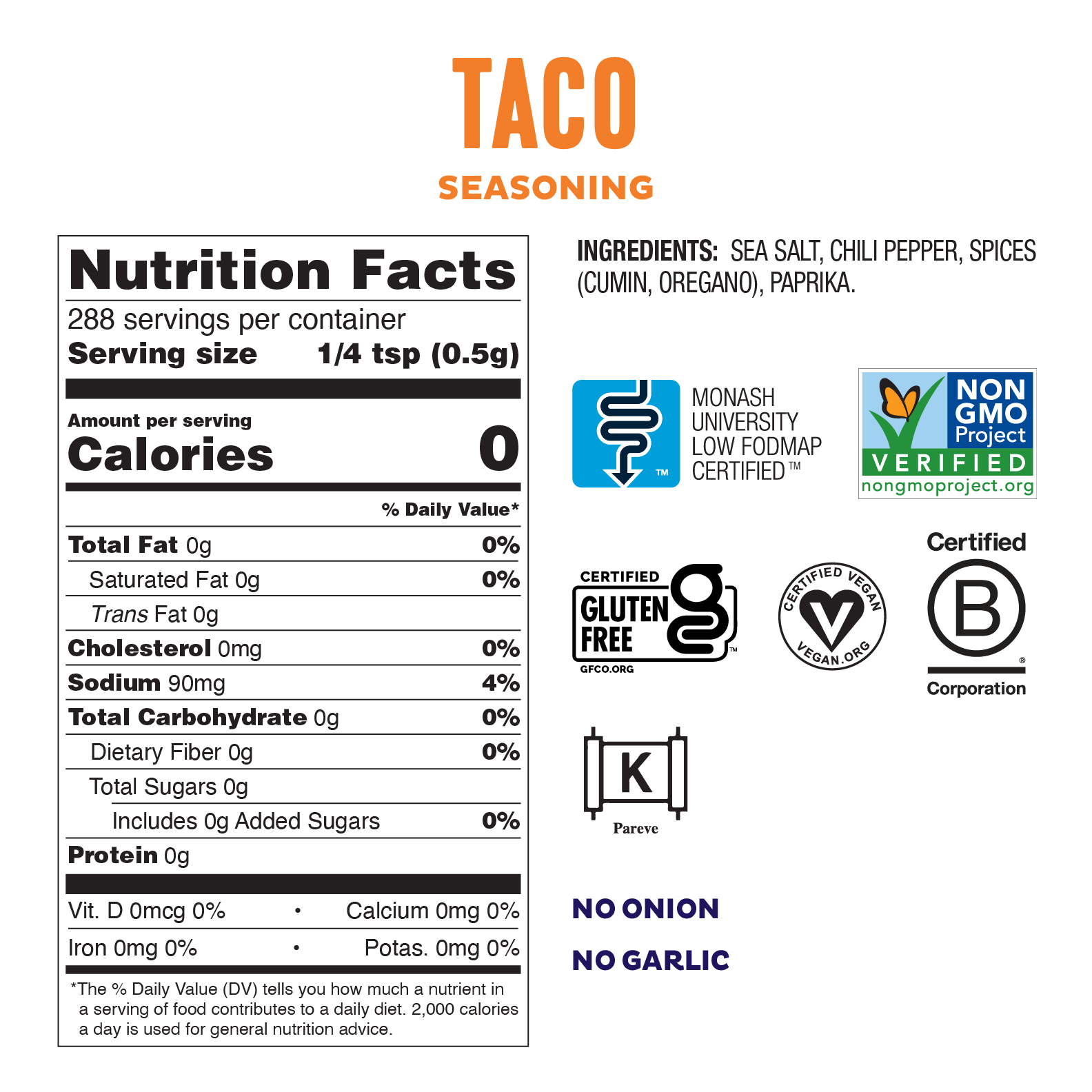 Low Fodmap Gluten Free Taco Seasoning Fody Food Co