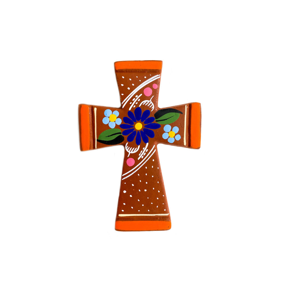 Clay Hand Painted Mini Cross - 1