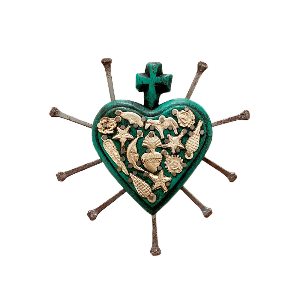Miguel Wooden Heart - Teal