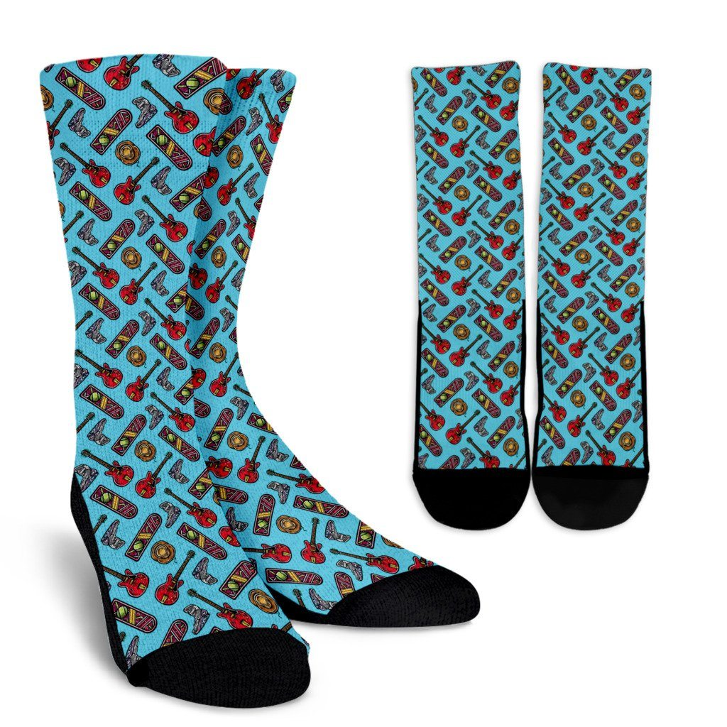 Back to the future Blue Crew Socks - Totally Awesome Retro