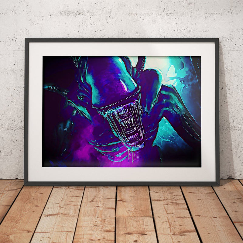 Alien Neon Poster - Totally Awesome Retro