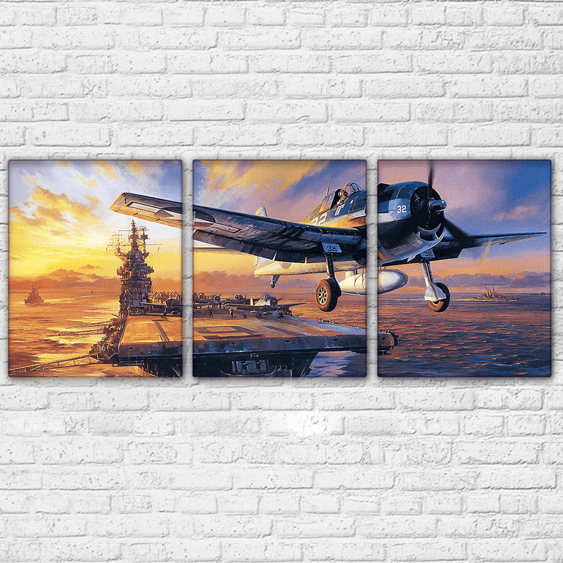 Navy Hellcat Aircraft Carrier 3 Piece Canvas Set