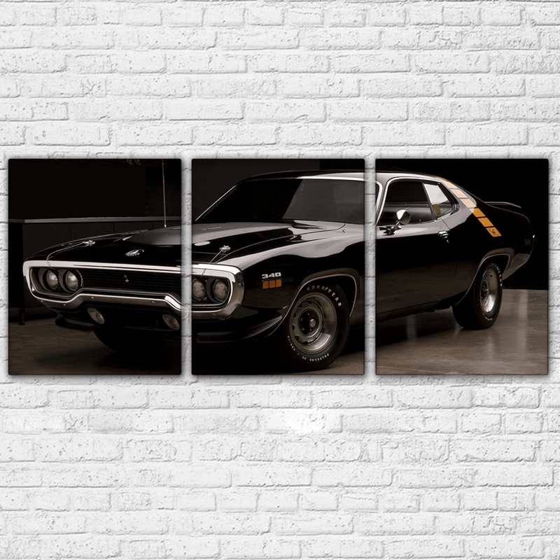 Plymouth Road Runner 3 Piece Canvas Black