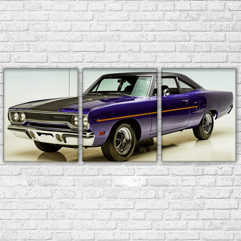 Plymouth Road Runner 3 Piece Canvas Purple