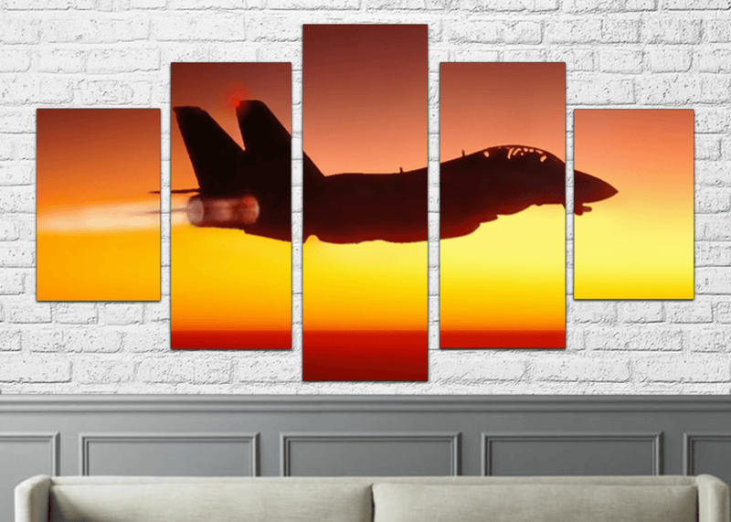 Top Gun Jet 5 Pieces Canvas Art Framed Printed Picture Poster Wall ...