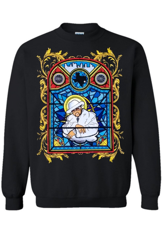 Black Pimp C Pimp God Sweater features Pimp C in stained glass