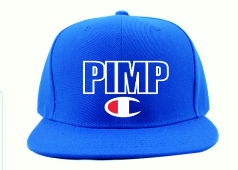 blue and white pimp c champion snapback hat cap