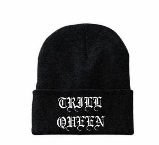 Black Pimp C Beanie with Trill Queen Embroidered on front in white old english font on allthingstrill.com