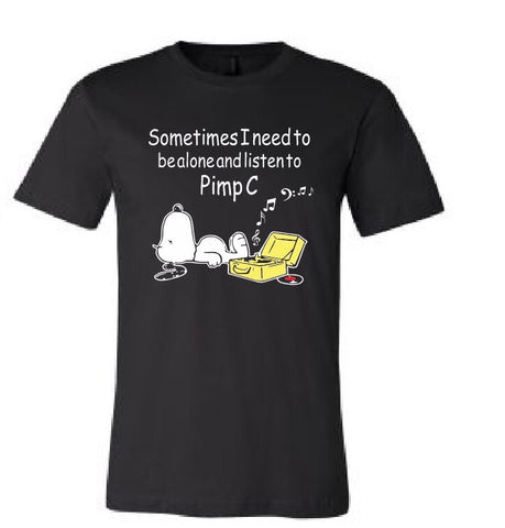 Black Sometimes I need to be alone and listen to pimp c snoopy black t-shirt