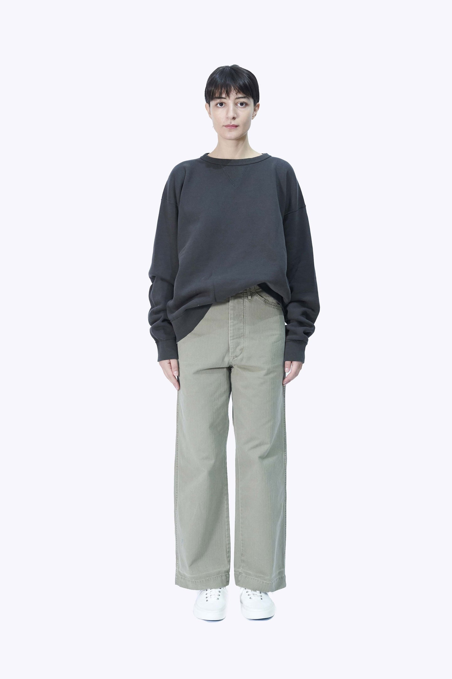 Unisex Herringbone M-41 Trouser in Khaki Green by Chimala