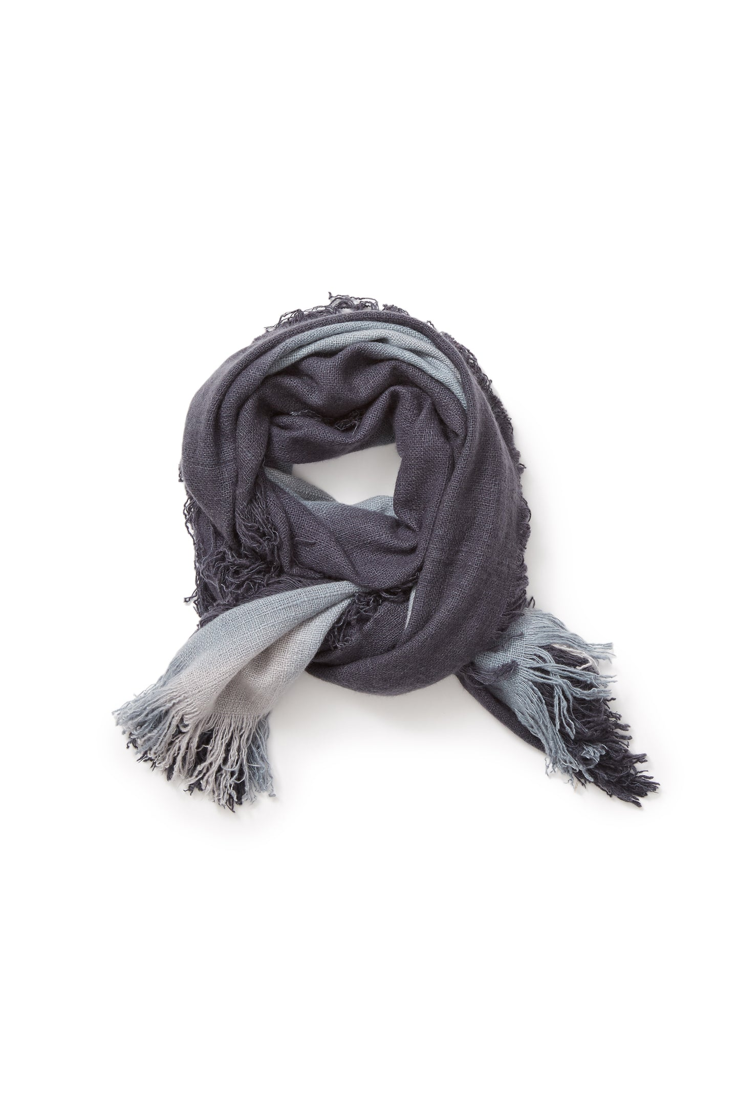 Hausa Tie Dye Cashmere Stole Moonless Night+Smokey Blue+Al