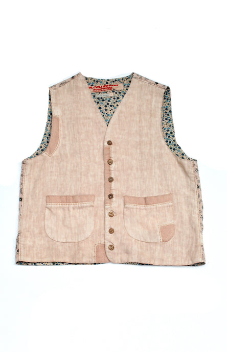 Linen Vest with Repair Hand Stitched Lychee
