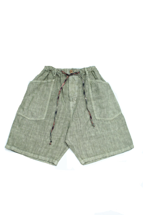 Slouchy Linen Short with Drawstring Sage