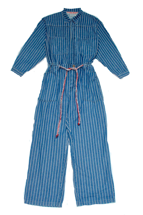 Mechano Oversized Jumpsuit Pinstripes Indigo Denim
