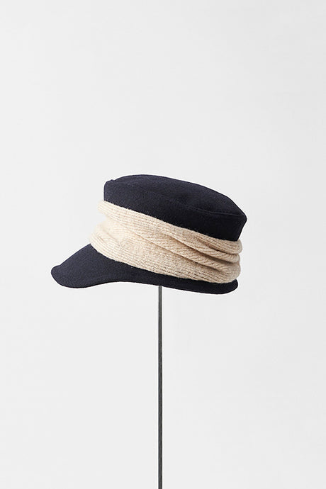 Melton Drape Cap in Navy x Natural by Mature Ha
