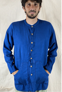 Loose Linen Pockets Shirt Sulfure Blue