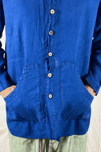 Load image into Gallery viewer, Loose Linen Pockets Shirt Sulfure Blue
