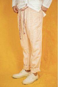 Slouchy Linen Pants W. Drawstring Lychee