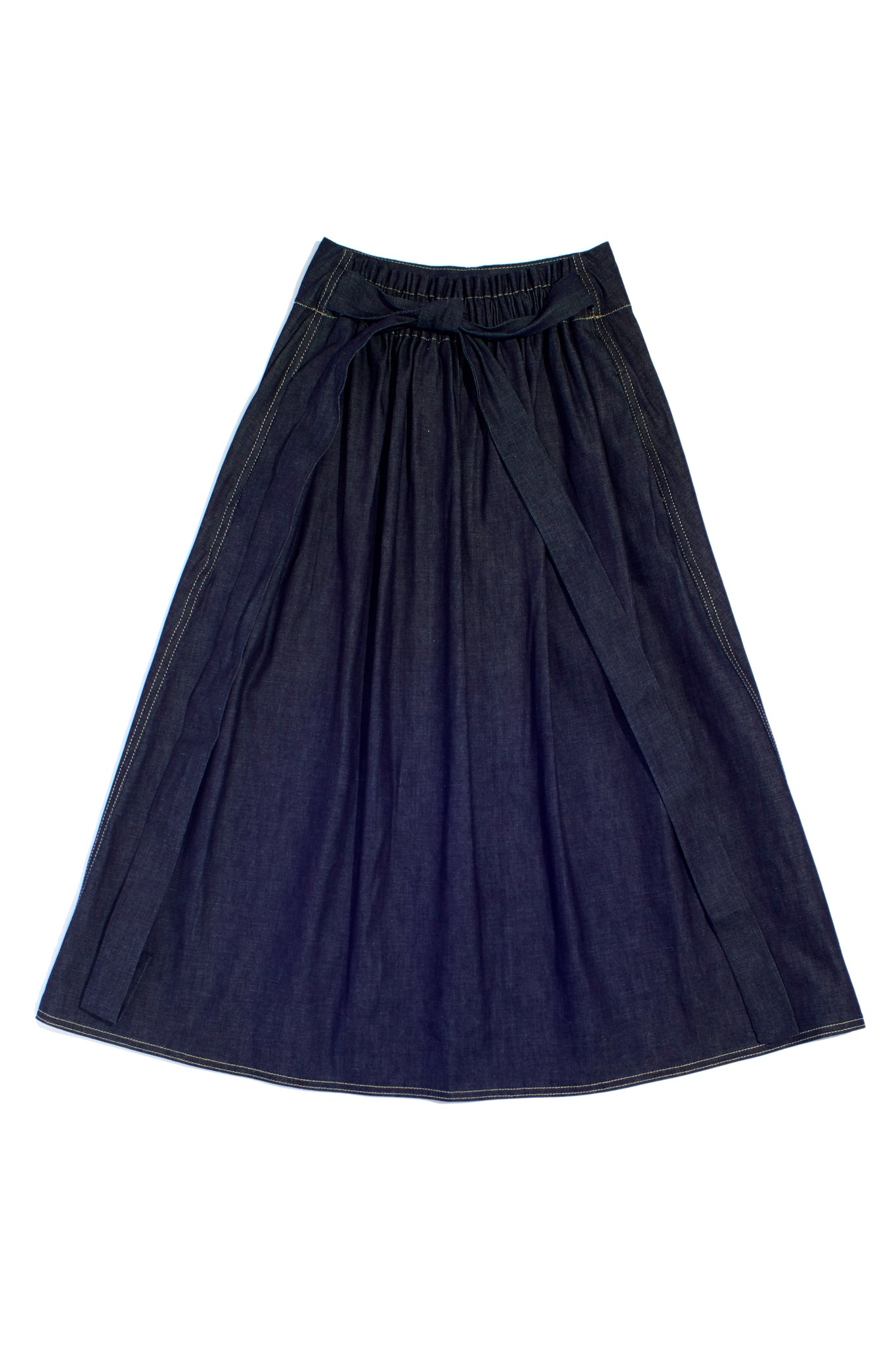 Sash Skirt with Elastic Waist & Knotted Belt