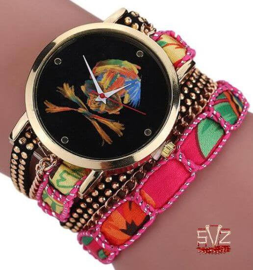 Lady wrist watch with multicolors skull